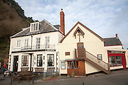 The Church of St Peter on the Quay and the Old Ship Aground pub, Minehead, Somerset, England