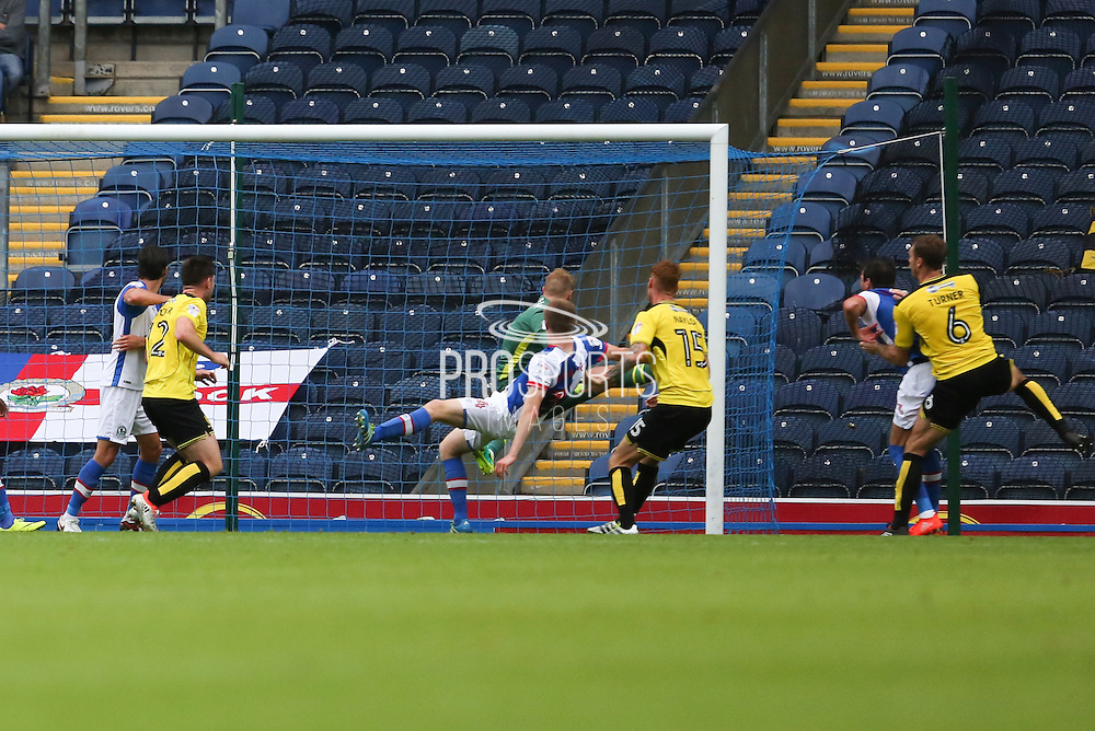 Tom Naylor of Burton Albion heads home to score the forth goal of the game to make it 2-2 during the EFL Sky Bet Championship match between Blackburn Rovers and Burton Albion at Ewood Park, Blackburn, England on 20 August 2016. Photo by Simon Brady.