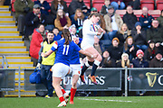 England player Jessica Breach catch a high ball and scores the first try of the first half during the Women's 6 Nations match between England Women and France Women at the Keepmoat Stadium, Doncaster, England on 10 February 2019.