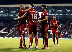 Aaron Wilbraham of Bristol City celebrates with teammates after scoring an equalising goal against Fulham - Mandatory by-line: Robbie Stephenson/JMP - 21/09/2016 - FOOTBALL - Craven Cottage - Fulham, England - Fulham v Bristol City - EFL Cup