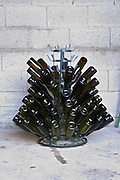 a stand to dry cleaned bottles domaine fussiacus macon burgundy france