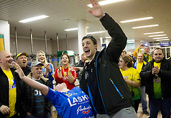 Nemanja Zelenovic of Celje celebrates with his fans after winning the  handball match between RK Celje Pivovarna Lasko and RK Gorenje Velenje in final of Slovenian Cup 2013, on March 3, 2013 in Arena Tri Lilije, Lasko, Slovenia. Celje PL defeated Gorenje Velenje 28-24 and became Slovenian Cup Champion 2013. (Photo By Vid Ponikvar / Sportida)