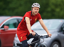 ROTTACH-EGERN, GERMANY - Friday, July 28, 2017: Liverpool's goalkeeper Simon Mignolet cycles to a training session at FC Rottach-Egern on day three of the preseason training camp in Germany. (Pic by David Rawcliffe/Propaganda)