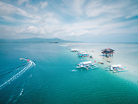 Aerial view of Manjuyod Sandbar or locally known as the Maldives of the Philippines in Basic City, Negros Occidental, Philippines