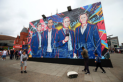 2 June 2017 - UEFA Champions League Final - Previews - A mural depicting Steven Gerrard, Rio Ferdinand, Gary Lineker and Steve McManaman - Photo: Marc Atkins / Offside.