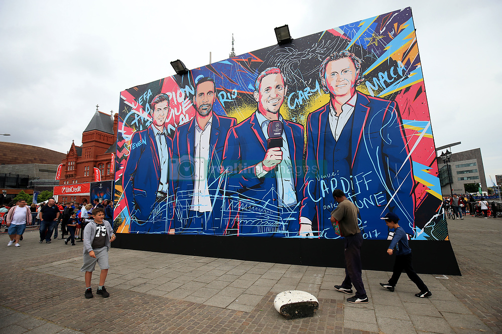 2 June 2017 - UEFA Champions League Final - Previews - A mural depicting Steven Gerrard, Rio Ferdinand, Gary Lineker and Steve McManaman - Photo: Marc Atkins / Offside.