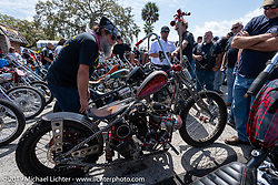 Checking out Randall Noldge's Titty Twister twisted frame rigid Harley-Davidson Shovelhead at the Chopper Time annual old school chopper show at Willie's Tropical Tattoo in Ormond Beach during Daytona Beach Bike Week, FL. USA. Thursday, March 14, 2019. Photography ©2019 Michael Lichter.