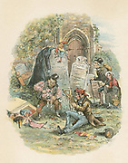 The Old Curiosity Shop', Charles Dickens, 1841. Little Nell and her grandfather on their wandering encounter with Codlin and Short, the Punch and Judy men.