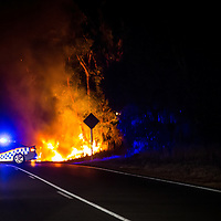 Car (looked like possibly a Nissan Navara) on fire on Ankatell Road, Mandogalup at approximately 10:40pm Wednesday 25th March, 2015.<br /> <br /> Appeared to be a single car incident, car was pulled over on the shoulder and what looked like the two occupants were safely out of the vehicle.