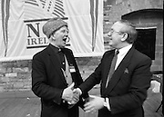 The 1989 Boat Show.   (R89)..1989..10.03.1989..03.10.1989..10th March 1989..Pat the Cope GallagherTD, Minister for the Marine attended the opening of the 1989 Boat Show held at the Point Depot, Dublin. The opening coincided with the minister's birthday...The Minister for the Marine, Pat The Cope Gallagher ,is pictured,under the NCB Ireland Banner at the Boat Show.  NCB firmly established its reputation by sponsoring a yacht NCB Ireland in the 1989 Whitbread Round-the-world yacht race
