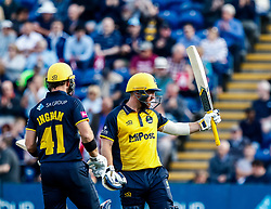 David Lloyd of Glamorgan celebrates scoring his half century <br /> <br /> Photographer Simon King/Replay Images<br /> <br /> Vitality Blast T20 - Round 1 - Glamorgan v Somerset - Thursday 18th July 2019 - Sophia Gardens - Cardiff<br /> <br /> World Copyright © Replay Images . All rights reserved. info@replayimages.co.uk - http://replayimages.co.uk