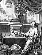Rene Descartes (1596-1650) French philosopher and mathematician in his study.  Engraving from a 17th century edition of his colected works.