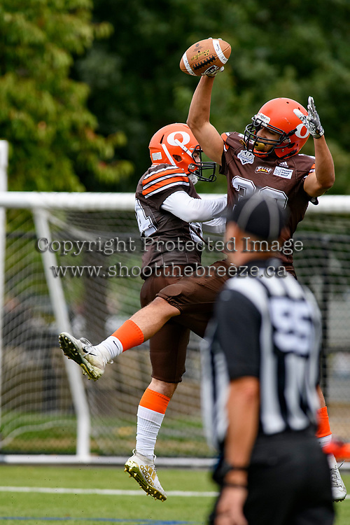 CHILLIWACK, BC - SEPTEMBER 11: Matt Lord #84 and Kaiden Banfield #32 of Okanagan Sun celebrate a touchdown against the Westshore Rebels at Exhibition Stadium in Chilliwack, BC, Canada. (Photo by Marissa Baecker/Shoot the Breeze)