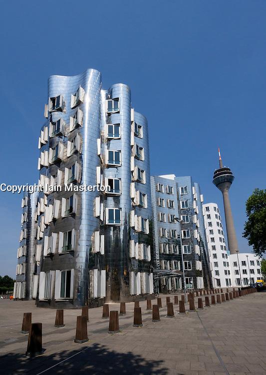 Neuer Zollhof buildings designed by Frank Gehry in Medianhafen in Düsseldorf Germany