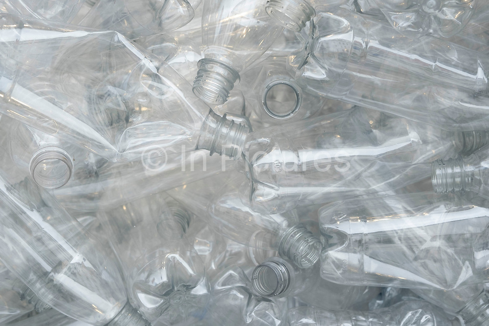 Plastic water and drinks bottles for recycling on 1st July 2020 in London, United Kingdom. Single-use plastics, or disposable plastics, are used only once before they are thrown away or recycled. These items are things like soda and water bottles and most food packaging. The world produces hundreds of millions of tons of plastic every year, most of which cannot be recycled.