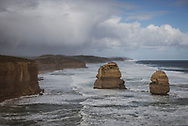 View of the Australian coastal landscape, looking east from the Twelve Apostles, on the Great Ocean Road in Victoria state.