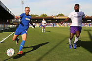 AFC Wimbledon midfielder Scott Wagstaff (7) chasing ball trying to stop it going out for a corner during the EFL Sky Bet League 1 match between AFC Wimbledon and Shrewsbury Town at the Cherry Red Records Stadium, Kingston, England on 14 September 2019.