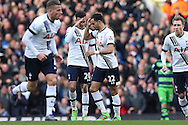 Nacer Chadli of Tottenham Hotspur © celebrates after scoring his sides 1st goal of the game to make at 1-1 with Dele Alli of Tottenham Hotspur (20).  Barclays Premier league match, Tottenham Hotspur v Swansea city at White Hart Lane in London on Sunday 28th February 2016.<br /> pic by John Patrick Fletcher, Andrew Orchard sports photography.