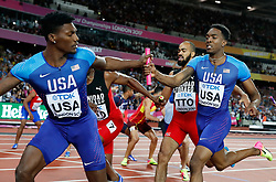LONDON, Aug. 14, 2017  Michael Cherry (R) and Fred Kerley of Team United States compete during Men's 4X400 Relay Final on Day 10 of the 2017 IAAF World Championships at London Stadium in London, Britain, on Aug. 13, 2017. Team United States took the silver with 2 minutes 58.61 seconds. (Credit Image: © Wang Lili/Xinhua via ZUMA Wire)