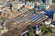 Nederland, Utrecht, Utrecht, 15-07-2012; binnenstad Utrecht. Centraal Station met stationsgebied en Hoog Catherijne.Inner city of Utrecht, railway district with shopping mall Hoog Catherijne..luchtfoto (toeslag), aerial photo (additional fee required).foto/photo Siebe Swart