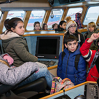 Nederland, Den Haag, 10 februari 2017.<br /> De Raad van Kinderen bezoekt met MSC (Marine Stewardship Council-keurmerk) de visafslag in Scheveningen voor hun onderzoek over duurzame visserij, van vangst tot bord.<br /> <br /> Foto: Jean-Pierre Jans
