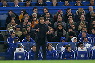 Chelsea manager Antonio Conte shouts from the touchline. <br /> Premier league match, Chelsea v Manchester United at Stamford Bridge in London on Sunday 5th November 2017.<br /> pic by Kieran Clarke, Andrew Orchard sports photography.