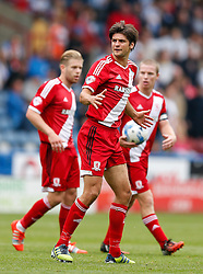 George Friend of Middlesbrough appeals for a freekick which is awarded leading to a goal for Grant Leadbitter - Photo mandatory by-line: Rogan Thomson/JMP - 07966 386802 - 13/09/2014 - SPORT - FOOTBALL - Huddersfield, England - The John Smith's Stadium - Huddersfield town v Middlesbrough - Sky Bet Championship.
