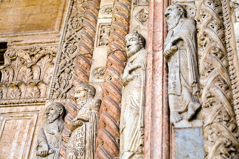 Detail of carvings of the Ten Prophets on the main porch of the Duomo, Verona, Italy