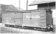 """Box car #3661 at Durango, CO.<br /> D&RGW  Durango, CO  Taken by Ward, Bert H. - 7/8/1946<br /> In book """"Narrow Gauge Pictorial, Vol. III: Gondolas, Boxcars and Flatcars of the D&RGW"""" page 148"""