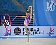 Dict Weng Kwan during qualifying at ribbon in Pesaro World Cup at Adriatic Arena on April 27, 2013. Kwan was born in Selangor, Malaysia on February 01,1995. She is a rhythmic gymnast  member of the Malaysia team.