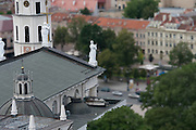 High angle view of the Vilnius Arkikatedra Basilka from Gedimino Bokstas with the background softened