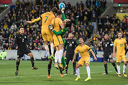 MELBOURNE, Sept. 5, 2017  Mathew Leckie (2nd L) of Australia heads the ball during the FIFA world cup 2018 qualification match between Australia and Thailand at Melbourne Rectangular Stadium in Melbourne, Australia, Sept. 5, 2017. Australia won 2-1. (Credit Image: © Zhu Hongye/Xinhua via ZUMA Wire)