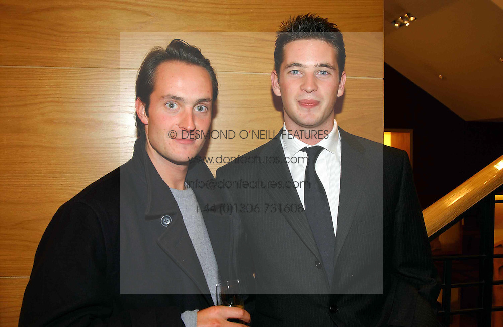 Left to right, brothers the HON.EDWARD TOLLEMACHE and the HON.JAMES TOLLEMACHE at a party hosted by Burberry to launch their special collection in aid of Breakthrough Breast Cancer, held at 21-23 New Bond Street, London W1 on 5th October 2004.<br /><br />NON EXCLUSIVE - WORLD RIGHTS
