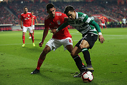 February 6, 2019 - Lisbon, Portugal - Sporting's forward Marcos Acuna from Argentina (R ) vies with Benfica's midfielder Gabriel of Brazil during the Portugal Cup Semifinal first leg football match SL Benfica vs Sporting CP at Luz stadium in Lisbon, on February 6, 2019. (Credit Image: © Pedro Fiuza/ZUMA Wire)