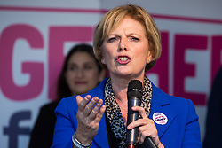 London, UK. 19 October, 2019. Anna Soubry, Independent MP for Broxtowe, addresses hundreds of thousands of pro-EU citizens at a Together for the Final Say People's Vote rally in Parliament Square as MPs meet in a 'super Saturday' Commons session, the first such sitting since the Falklands conflict, to vote, subject to the Sir Oliver Letwin amendment, on the Brexit deal negotiated by Prime Minister Boris Johnson with the European Union.
