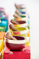 Colorful tibetan singing bowls. Sound Bowl Colorful sound bowls that carry the vibrational  frequencies of each chakra.