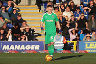 AFC Wimbledon goalkeeper Aaron Ramsdale (35) about to kick the ball during the EFL Sky Bet League 1 match between AFC Wimbledon and Charlton Athletic at the Cherry Red Records Stadium, Kingston, England on 23 February 2019.