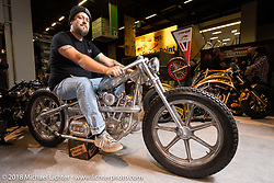 Enrico (Ricky) de Haas of Wannabe Choppers in Hüttenberg, Germany with his 52V Brushless Hub Motor in an entirely handcrafted Knucklehead looking package in the AMD World Championship of Custom Bike Building in the Intermot Customized hall during the Intermot International Motorcycle Fair. Cologne, Germany. Friday October 5, 2018. Photography ©2018 Michael Lichter.