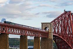 The Flying Scotsman crosses the Forth Road Bridge to North Queensferry 15 May 2016<br /> <br /> (c)Craig Brown| Edinburgh Elite media