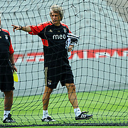Benfica's head coah Jorge JESUS (R) during their session training before UEFA Champions League third qualifying round, second leg, soccer match Trabzonspor at the Ataturk Olimpiyat Stadium at İstanbul Turkey on Tuesday, 02 August 2011. Photo by TURKPIX