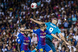 August 13, 2017 - Barcelona, Catalonia, Spain - Real Madrid forward BENZEMA competes with FC Barcelona defender JORDI ALBA for the ball during the Spanish Super Cup Final 1st leg between FC Barcelona and Real Madrid at the Camp Nou stadium in Barcelona (Credit Image: © Matthias Oesterle via ZUMA Wire)