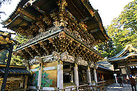Yomeimon Gate at Toshugu Shrine - Toshogu Shrines are found throughout Japan though the most famous is located in Nikko. It is one of Japan's most popular destinations for tourists. Five structures at Nikko are categorized as National Treasures of Japan, and three more as Important Cultural Properties.  The stable of the shrine's sacred horses bears a carving of the three wise monkeys, who hear, speak and see no evil, a traditional symbol in Chinese and Japanese culture.  Ieyasu's son, the second shogun Hidetada, ordered the construction of the Nikko Toshogu Shrine. Later, the third shogun Iemitsu had the shrine enlarged and lavishly decorated.
