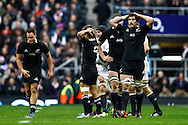 Picture by Andrew Tobin/SLIK images +44 7710 761829. 2nd December 2012. Sam Whitelock (R) holds his head in his hands after England score during the QBE Internationals match between England and the New Zealand All Blacks at Twickenham Stadium, London, England. England won the game 38-21.
