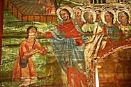 Naive folk christian frescoes in the interior of the Orthodox  Wooden Church  ( Biserica de lemn ) of St Arhangheli Mihail si Gavril, Maramures, Northern Transylvania, Romania. .<br /> <br /> Visit our ROMANIA HISTORIC PLACXES PHOTO COLLECTIONS for more photos to download or buy as wall art prints https://funkystock.photoshelter.com/gallery-collection/Pictures-Images-of-Romania-Photos-of-Romanian-Historic-Landmark-Sites/C00001TITiQwAdS8<br /> .<br /> Visit our MEDIEVAL PHOTO COLLECTIONS for more   photos  to download or buy as prints https://funkystock.photoshelter.com/gallery-collection/Medieval-Middle-Ages-Historic-Places-Arcaeological-Sites-Pictures-Images-of/C0000B5ZA54_WD0s