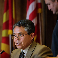 012615  Adron Gardner/Independent<br /> <br /> Speaker pro tem Allen Begay Jr. addresses the Navajo Nation Tribal Council during the opening winters session in Window Rock Monday.