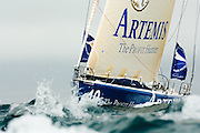 Artemis sailed by Brian Thompson. The start of the Route du Rhum 2006, St Malo, France.