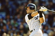 BRONX, NY - 2000: Derek Jeter of the New York Yankees bats during an MLB game at Yankee Stadium during the 2000 season.   (Photo by Ron Vesely) Subject:  Derek Jeter