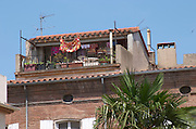 Old house with roof terrace. Perpignan, Roussillon, France.