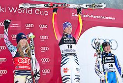 10.03.2010, Kandahar Strecke Damen, Garmisch Partenkirchen, GER, FIS Worldcup Alpin Ski, Garmisch, Lady Downhill, im Bild Siegerpodest der Abfahrt, v.l. zweitplazierte Vonn Lindsey, ( USA, #19 ), Ski Head, erstplazierte Riesch Maria, ( GER, #18 ), Ski Head und drittplazierte Paerson Anja, ( SWE, #20 ), Ski Head, EXPA Pictures © 2010, PhotoCredit: EXPA/ J. Groder / SPORTIDA PHOTO AGENCY