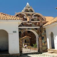 South America, Bolivia, Calamarca. Church of Calamarca Entrance.